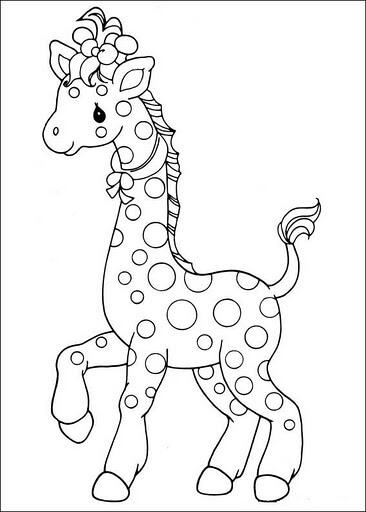 Dibujo de jirafa tierna para pintar