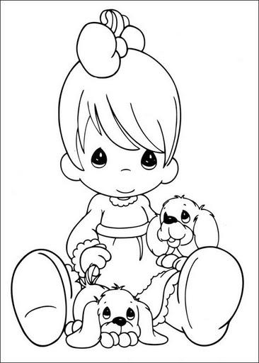 Dibujo tierno de niña con perritos para pintar