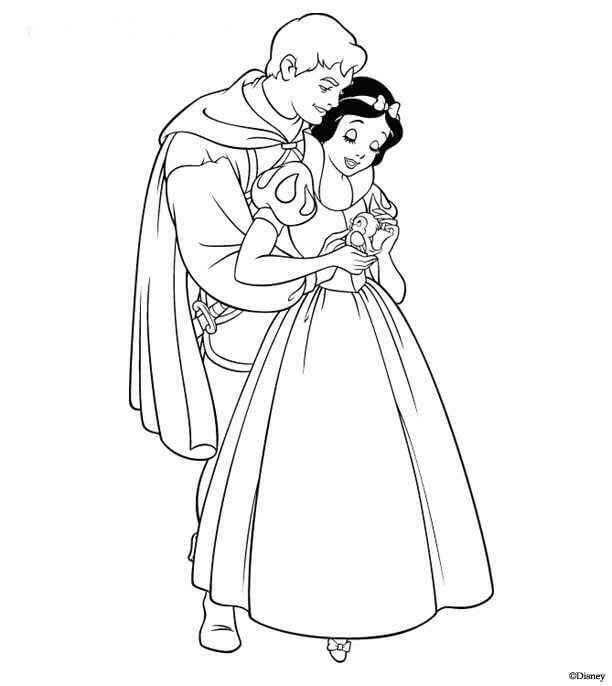 Dibujos de blancanieves y el principe para colorear