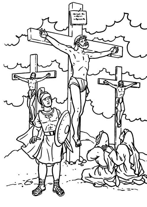 Dibujos de Jesus Crucificado en calvario para Colorear Semana Santa
